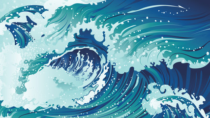 Rushing sea waves