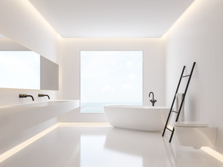 Minimalist bathroom with sea view 3d render, The room have white walls and floors decorated with hidden light in the walls and ceilings, large windows looking out to nature.