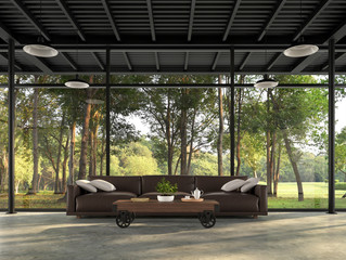 Industrial loft living room with nature view 3d render There are polished concrete floors and black steel structures decorated with dark brown leather sofas with large windows surrounded by forest.