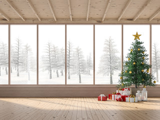 The interior of a wooden house with Christmas trees 3d render. The rooms have wooden floor and ceilings, decorated with pine trees and gift boxes. Large windows look out to snow scenes.
