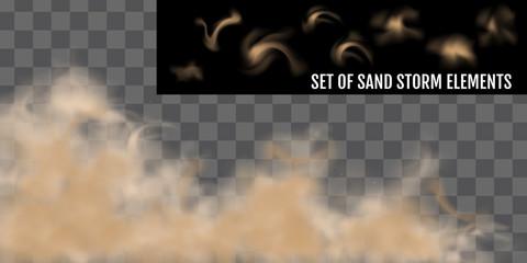 Realistic dust or sand storm. Sandstorm Elements Set. Fototapete