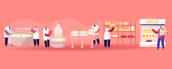 Cheese Food Production Factory. Commercial Characters Make Dairy Machinery Process in Metal Tank. Milk Ripening Manufacturing Equipment Line, Delivery for Sale in Shop Cartoon Flat Vector Illustration