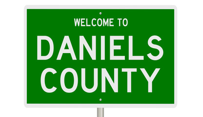 Rendering of a green 3d highway sign for Daniels County Wall mural