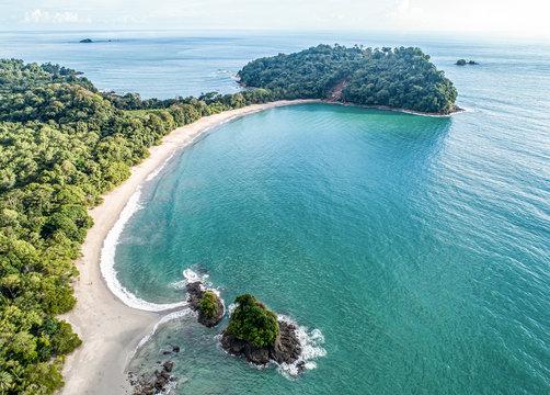 Aerial View of Tropical espadilla beach and Coastline near the Manuel Antonio national park, Costa Rica