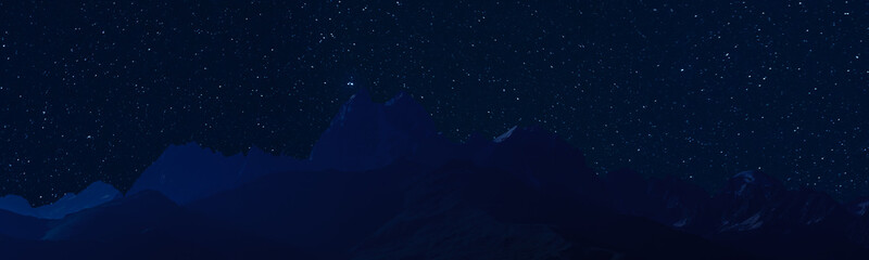 Night landscape with majestic mountains