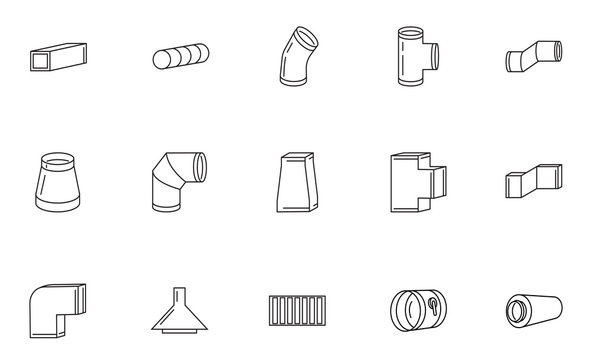 Ventilation vector line icon set. Round and rectangular ducts and fittings. Bend, dumper, silencer, fan. Supply and exhaust system