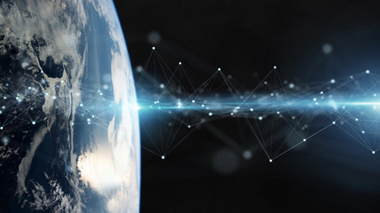 Satellites sending datas exchanges and connections system over the globe 3D rendering elements of this image furnished by NASA