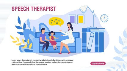 Webpage Banner with Children and Speech Therapist. Special Didactic Training and Education for Kids with Conversational Disorders. Medicine, Healthcare and Pedagogics. Vector Cartoon Flat Illustration
