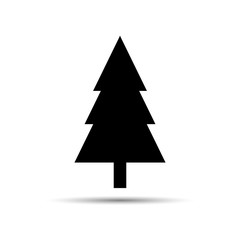 Evergreen Christmas tree vector icon. Simple flat silhouette. Decorative woodland clip art. New Year greeting card design element.