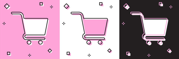 Set Shopping cart icon isolated on pink and white, black background. Online buying concept. Delivery service sign. Supermarket basket symbol. Vector Illustration