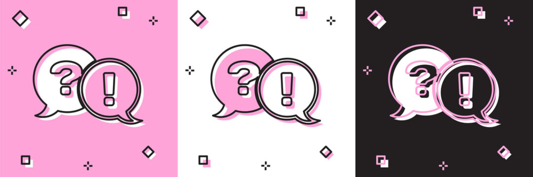 Set Speech bubbles with Question and Exclamation icon isolated on pink and white, black background. FAQ sign. Copy files, chat speech bubble and chart. Vector Illustration