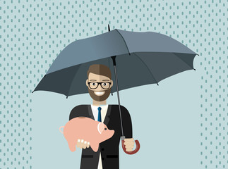 Obraz Businessman hold umbrella to protect piggy bank. Vector illustration for financial, insurance savings concept - fototapety do salonu