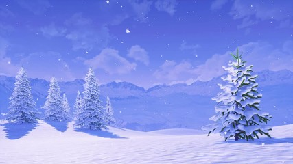 Wall Mural - Peaceful winter landscape with snow covered fir tree high in snowy alpine mountains at calm wintry morning during snowfall. With no people 3D animation for Xmas or New Year background rendered in 4K