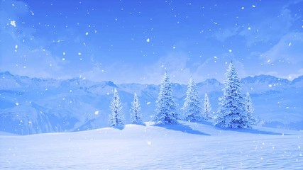 Wall Mural - Serene wintry landscape with snowbound fir trees high in snowy alpine mountains at frosty winter day during snowfall. With no people 3D animation for Xmas or New Year background rendered in 4K