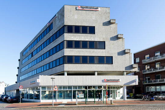 CUXHAVEN, GERMANY - OCTOBER 29, 2019: HypoVereinsbank branch. UniCredit Bank AG, better known under its brand name HypoVereinsbank (HVB), is the fifth-largest of the German financial institutions.
