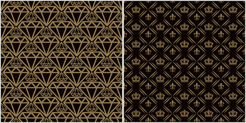 Modern backgrounds, patterns. Two modern background pictures in retro style. Seamless vector backgrounds. Set of patterns. Colors in the image: black, brown, gold. Vector graphic.