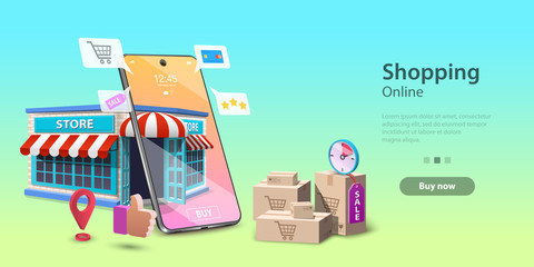Online Shopping Landing Page Template, Mobile Store Concept, Fast Delivery Service.