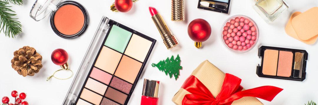 Makeup professional cosmetics with christmas decor.