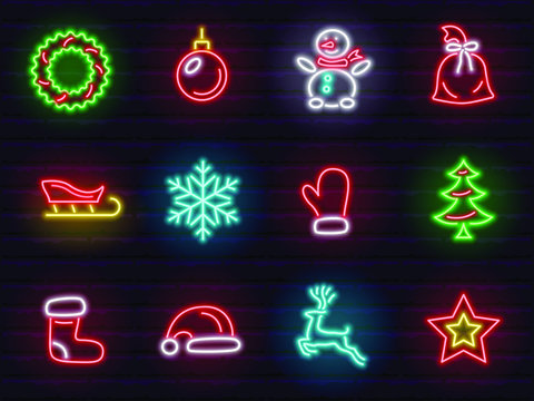 christmas and new year neon signs and icons set