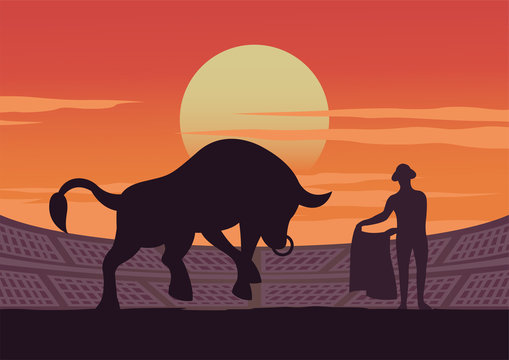 matador and bull are shown in stadium,culture and tradition of Spain,sunset time,vector illustration