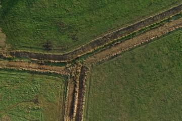 Draufsicht Feldweg Y Form , Weiche, Gabelung, Luftbildaufnahme