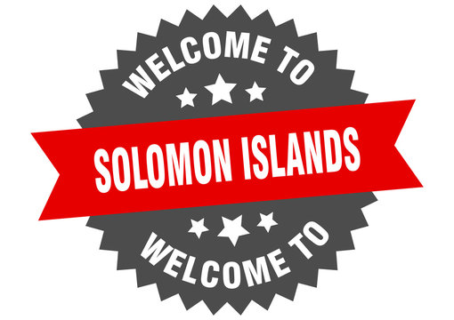 Solomon Islands sign. welcome to Solomon Islands red sticker