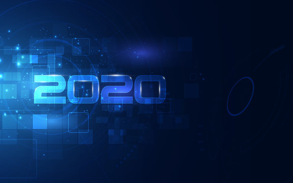 2020 celebration with Cyber futuristic technology background, countdown concept