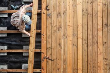 Constructing a Wooden Flooring of a Terrace, Douglas Fir