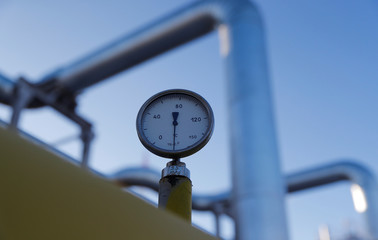 A manometer is pictured at the Atamanskaya compressor station, facility of Gazprom's Power Of Siberia project outside the far eastern town of Svobodny