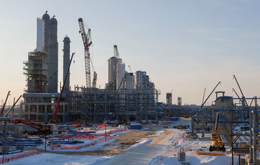 A general view of the construction site of Amur gas processing plant, part of Gazprom's Power Of Siberia project outside the far eastern town of Svobodny