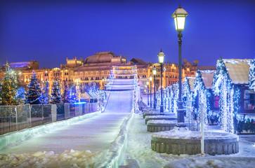 Tuinposter Donkerblauw Новогодняя горка New Year Snow ice slide