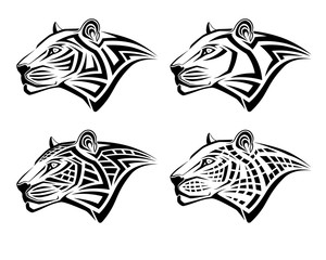 Set of different leopards in the form of tribal tattoos