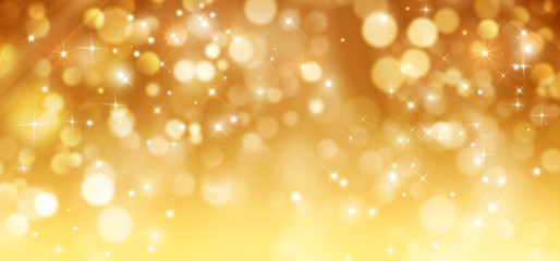 Golden glitter background with stars. Merry Christmas and happy New Year greeting card