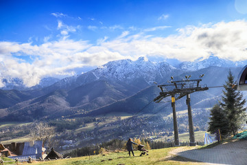 ZAKOPANE, POLAND - NOVEMBER 06, 2019: View of the city of Zakopane from Gubalowka, Poland, Europe. Gubalowka mountain is a popular tourist attraction, offering views of the Tatras and Zakopane.