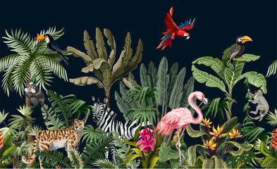 Foto auf Acrylglas Olivgrun Seamless border with jungle animals, flowers and trees. Vector.
