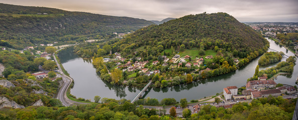 Fotobehang Oude gebouw Panoramic view of the river Adige from the Citadel of Besancon in Bourgogne Franche-Comte region in France.