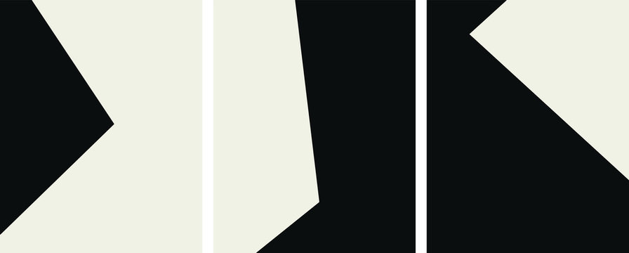 black and white minimalist template set, posters abstract geometric art