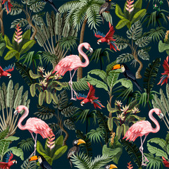 Seamless pattern with jungle animals, flowers and trees. Vector.