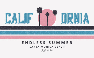 California, Santa Monica t-shirt design with palm trees and sun. Print for apparel design with stripes and grunge. Vector illustration. Wall mural