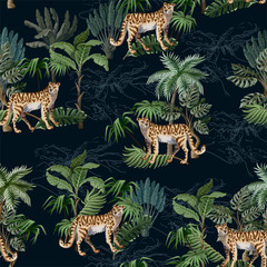 Seamless pattern with leopard and tropical landscape. Vector.