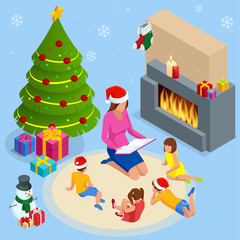 Merry Christmas and Happy Holidays concept. Mom reading a book to children near Christmas tree indoors.