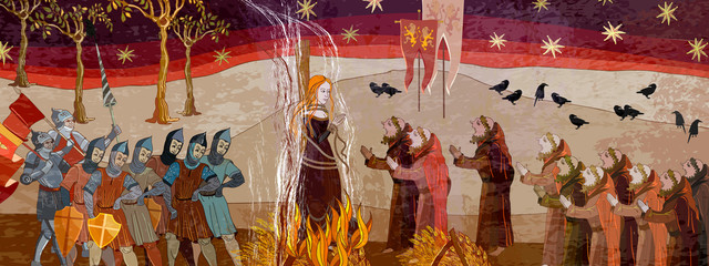Medieval scene. Inquisition. Burning witches. Ancient book vector illustration. Middle Ages parchment style. Joan of Arc (Jeanne d'Arc) concept. Monks and soldiers at a fire with the witch