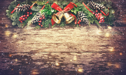 Wall Mural - Christmas background with fir tree and decoration
