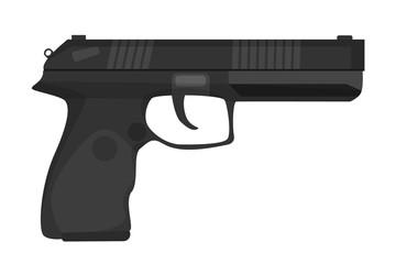 Black pistol vector isolated. Handgun, weapon silhouette. Military