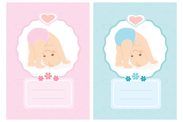 Cartoon newborn baby card. Cute background,baby shower or greeting card template with funny little child