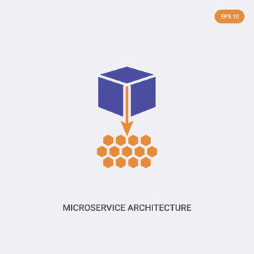 2 color Microservice architecture concept vector icon. isolated two color Microservice architecture vector sign symbol designed with blue and orange colors can be use for web, mobile and logo. eps 10.