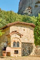 Greek church and monastery in the cliff in Meteora