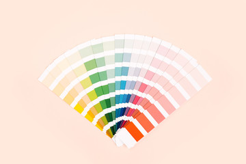 Color palette with various samples. Rainbow sample colors catalogue.