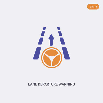 2 color Lane departure warning concept vector icon. isolated two color Lane departure warning vector sign symbol designed with blue and orange colors can be use for web, mobile and logo. eps 10.
