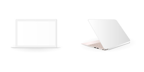 vector image of light laptop in semi open position and in open position